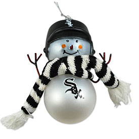 Chicago White Sox Blown Glass Snowman Ornament