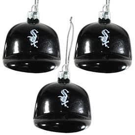Chicago White Sox Three Pack of Blown Glass Helmet Ornaments