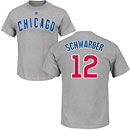 Chicago Cubs Kyle Schwarber Road Name and Number T-Shirt