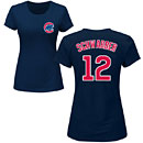 Chicago Cubs Kyle Schwarber Ladies Navy Name and Number T-Shirt