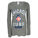 Chicago Cubs Ladies Wavy Bear Scoop Neck Tri-Blend Long Sleeve T-Shirt