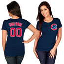 Chicago Cubs Ladies Navy Blue Personalized Name and Number T-Shirt