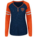 Chicago Bears Ladies Lead Play Henley Long Sleeve T-Shirt