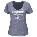 Chicago Cubs Ladies 2015 Postseason #Fly the W V-Neck T-Shirt