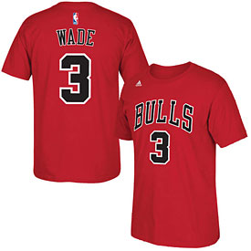Chicago Bulls Dwyane Wade Red Name and Number T-Shirt