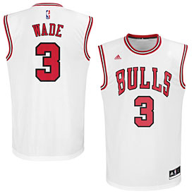 Chicago Bulls Dwyane Wade White Replica Jersey