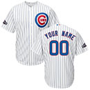 Chicago Cubs Customized Home Replica Cool Base Jersey w/ 2016 Postseason Patch