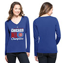 Chicago Cubs Ladies 2016 NL Champs Scoop Club Long Sleeve T-Shirt
