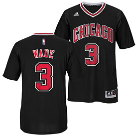 Chicago Bulls Dwyane Wade Black Swingman Sleeved Jersey