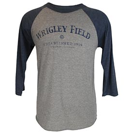 Wrigley Field Distressed Raglan 3/4 Sleeve Shirt
