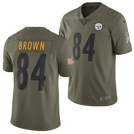 Pittsburgh Steelers Antonio Brown 2017 Nike Olive Salute to Service Limited Jersey