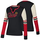Chicago Blackhawks Ladies CCM Henley V-Neck Long Sleeve T-Shirt