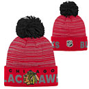 Chicago Blackhawks Youth adidas On Ice Cuffed Pom Knit Hat