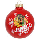 Chicago Blackhawks Wrap Around Glass Ornament