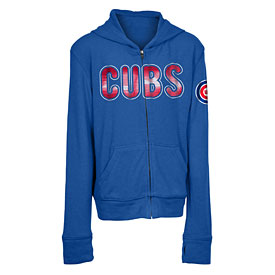 Chicago Cubs Youth Girls Brushed Full Zip Hooded Sweatshirt