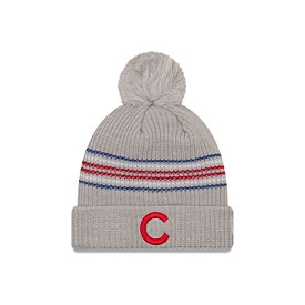 Chicago Cubs New Era Women's Snowy Stripe Cuffed Knit Hat with Pom