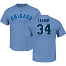 Chicago Cubs Jon Lester Light Blue Name and Number T-Shirt