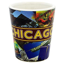 Chicago Retro Collage Shot Glass