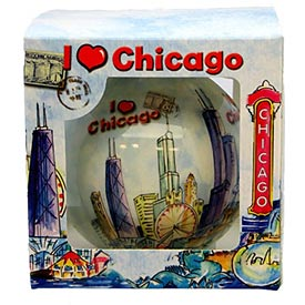 Chicago Watercolor 80mm Ornament