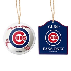 Chicago Cubs 2 Pack Ball & Sign Wooden Ornament Set