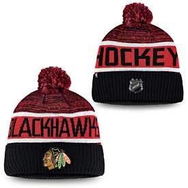 Chicago Blackhawks Fanatics Branded Authentic Pro Rinkside Goalie Cuffed Knit Hat With Pom