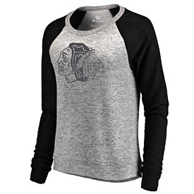 Chicago Blackhawks Women's Cozy Raglan Plush Crew Sweatshirt
