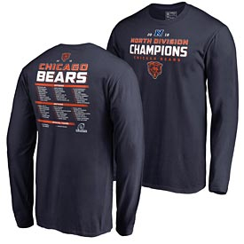 Chicago Bears 2018 Division Champions Roster L/S Tee